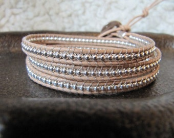 Sterling Silver Triple Beaded Leather Wrap Bracelet with Natural Leather
