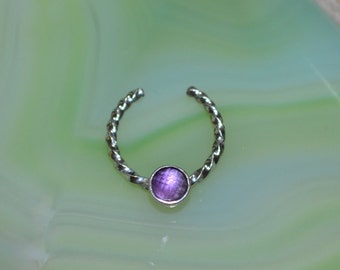 3mm Amethyst Septum Cuff - Silver Fake Nose Ring - Fake Septum Ring - Faux Piercing - Helix Cuff 20 gauge - Fake Piercing