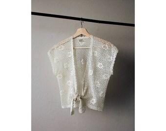 1960s Off White Crochet Front Tie Top