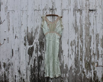 1960s mint green silk nightgown with light brown lace, shiny, v back, princess waist, medium, nightgown, lingerie, cap sleeves