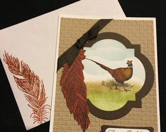 Pheasant and Feather card