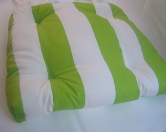 "Chartreuse green and white Chair pad seat cushion cotton 3"" stripes"