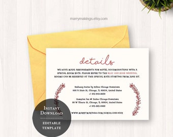 Printable info card, wedding info card, wedding invitations, info card, info card template, template, printable, information card, floral,36