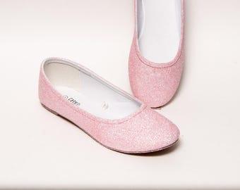 Glitter - Baby Bubblegum Pink Ballet Flat Slipper Custom Shoes