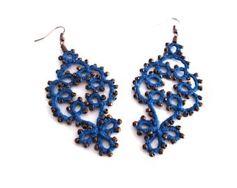 Boho blue lace earrings/ tatted earrings/ beaded earrings/ lace jewelry/ lace earrings/ blue earrings