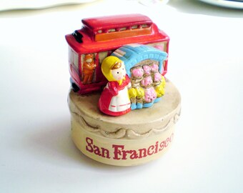 Vintage San Francisco Music Box, San Francisco  Decor, Flower Shop Decor, Flower Music Box, San Francisco Memorabilia, Gift for Florist