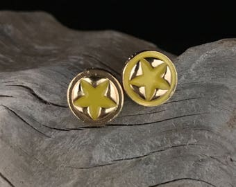Small Star Stud Earrings, Yellow Star Studs, Small Earrings, Star Earrings, Small Star Earrings, Stud Earrings, Gold and Yellow Star Earring