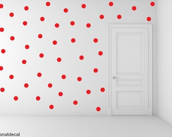 FREE SHIPPING Red Dots, Larg Kit Contains: 228 . Wall Decal . Home Decor. Nursery Wall Decal Sticker Art Digital