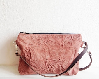 Dusty rose Crossbody bag, Shoulder bag, Casual bag, Leather, Slouchy bag, Boho, Mauve