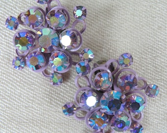 Vintage 1950s Earrings 50s Purple Enamel and Rhinestone Flower Clip Earrings Unsigned
