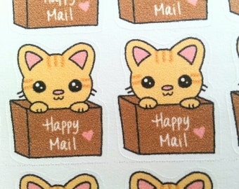 Kawaii Cute Happy Mail Package Box Planner Stickers