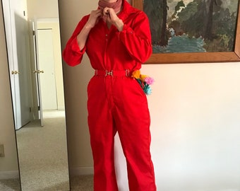 vintage 70s red workwear coveralls / red belted denim jumpsuit / 70s bombshell collared zip up coverall jumpsuit / mechanics coverall