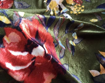 Penelope. Watercolor Florals On Radiant Green With Hints Of Mustard And Copper. Stretch Velvet Knit.