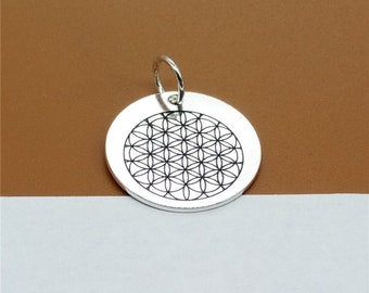 925 Sterling Silver Flower of Life Charm 17mm, Custom Disc Charm for Necklace Bracelet Key Chain - C66