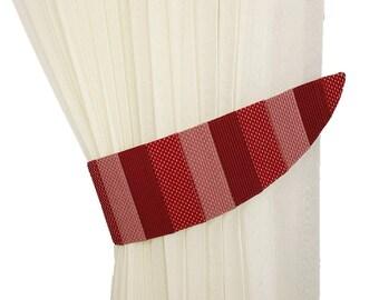 Tie back striped Drapery tiebacks Curtain tiebacks burgundy Striped bedroom decor Curtain tiebacks red Curtain tiebacks Home decor