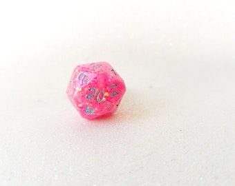 Individually cast clear resin D20 dice ring with bright pink glitter