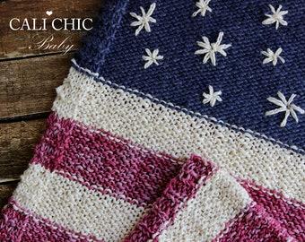 Easy Knitting Blanket PATTERN 76 - Stars & Stripes - American Flag Knitting PATTERN - Red White and Blue Knit Blanket