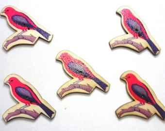 LOT 5 wood buttons: theme birds 37 * 33mm (08)