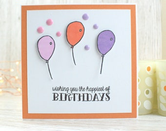 Balloon Birthday Card; Greetings Card; Cards for Him; Cards for Her; Handmade Card; Children's Birthday Card