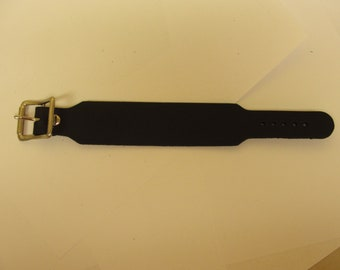 "Plain Handmade 1-1/2"" - 38 mm Wide Genuine Black Leather Wristband with Silver/Chrome Buckle bracelet Rock Made in USA"