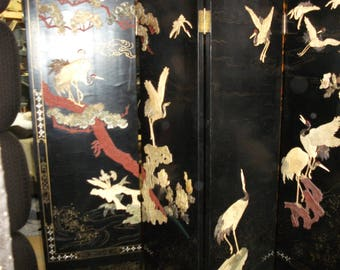 Chinese black lacquer screen with floral and bird soapstone inlay motif