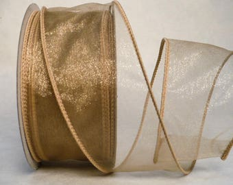 "Everyday wired ribbon, taupe sheer wired, taupe sheer iridescent wired ribbon 2"" x 20 yards"
