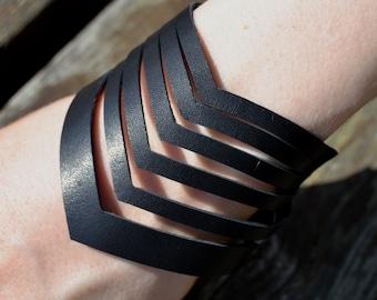 Chevron Leather Bracelet, Black Leather Bracelet, thick surplus leather bracelet