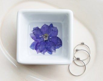Blue Larkspur Flower Ring Dish, Jewelry Storage, Square Ring Dish, Pressed Flower Ring Holder, Flower Bowl, Nature Lover Gift