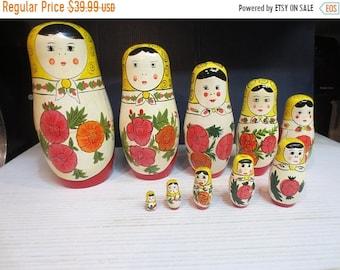Whole Shop on Sale Nesting Dolls set 10 Pcs Russian Matryoshka Traditional Babushka Stacking Wooden Dolls