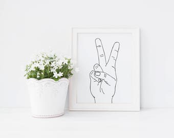 Peace Sign, Wall Art Print, Instant Download, Printable Art, Printable Quotes, Hand Lettered, Typographic Print