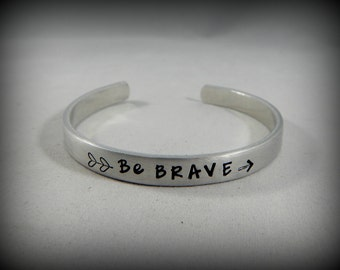Be BRAVE - Graduation Gift - Hand Stamped Bracelet with Double Heart Arrow - Inspirational - Strong Women - kg2325