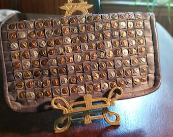 Platania Italy Metallic Studded Incredibly Soft Leather Zip Around Large Wristlet Clutch Wallet