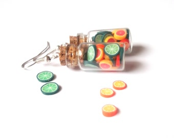 Zitrus Flasche Ohrringe (Kalk Ohrringe Schmuck Essen Ohrringe Mini Essen Schmuck grün orange Ohrringe Ohrringe aus Fimo)