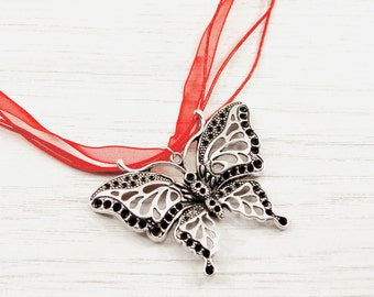 Butterfly necklace, silver butterfly pendant, butterfly neckchain, red butterfly, gift for mum, butterfly lover gift, nature, wildlife