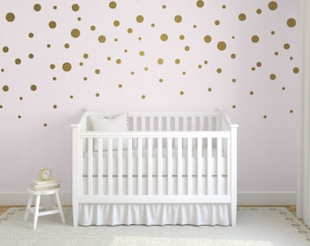 Gold Confetti Polka Dot Wall Decals, Mixed Size Polka Dot Decals, Easy Peel and Stick Decals, Gold Polka Dot Decals