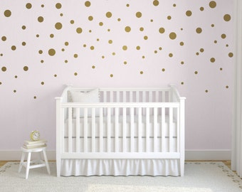 Gold Confetti Polka Dot Wall Decals, Mixed Size Polka Dot Decals, Easy Peel  And