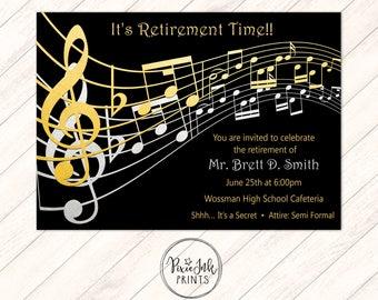 Black & Gold Music Notes Retirement Invitation, Music Retirement Party, Retirement Party Invitation, Retirement Printable, Gold Music Party