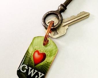 I Heart Cherokee Copper Keychain