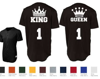 King Queen With Crowns Custom Baseball Jersey Number Style Couples Jersey Shirts Sport-Tek® PosiCharge™ Tough Mesh Full-Button Jersey St220