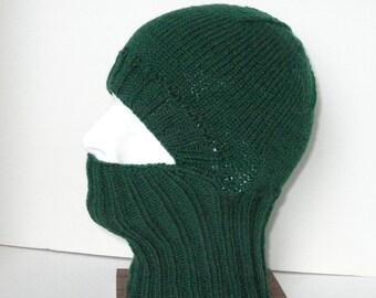 Green Knit Helmet Liner, Balaclava, or Ski Mask