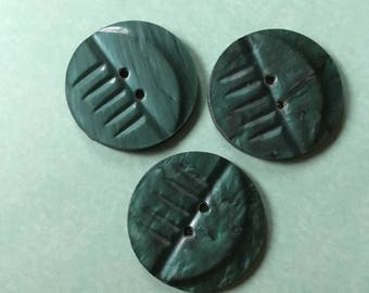 Three dark green Art Deco style patterned vintage buttons