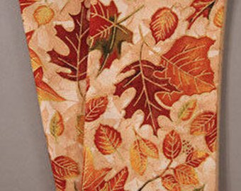 Fall Leaves Scattered on a Cream and Tan Background with Metallic Accents, Cloth Napkins, Dinner Napkins, Hostess Gift