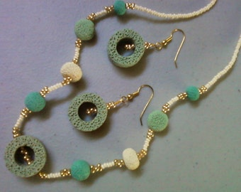 Pale Green, Yellow and Blue Lava Rock Necklace and Earrings (0274)