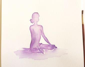 Yoga art | Original | Lotus Meditation | Purple | Watercolour Painting