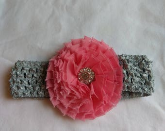 Grey baby headband with hot pink flower with bling center