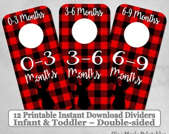 Printable 12 Baby Toddler Double-Sided Closet Dividers Buffalo Plaid Deer Sizes NB-6 - DIY Instant Download - Baby Shower Gift Nursery