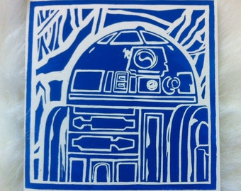 R2-D2 Linocut Hand Printed on Recycled Card