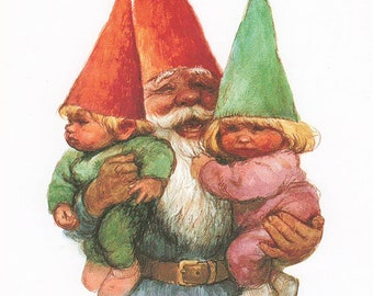 Vintage art print 80s. David the gnome as grandfather. By Rien Poortvliet.