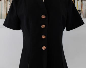 PROMOD - making French chic 80s vintage fitted black jacket size 38 FR