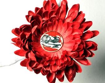 Dinosaur Flower Hair Clip in RED